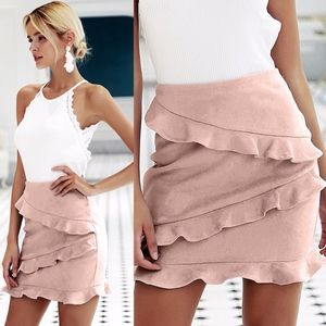 FRANNIE Ruffles detail Mini Skirt - BLUSH